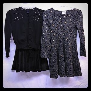 Girls Fall-Winter Dress, Skirt, Sweater 3PCS